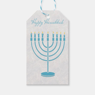 Blue Menorah, Happy Hanukkah Pack Of Gift Tags