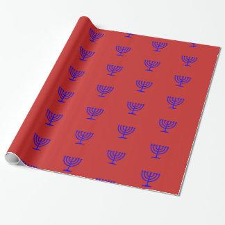 Blue menorah red Hanukkah gift wrap