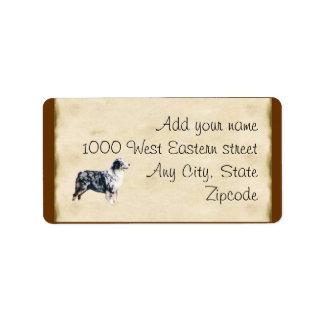 Blue Merle Aussie on Parchment Label