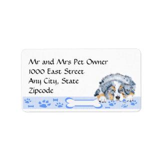 Blue Merle Aussie Puppy on Blue Gingham Label
