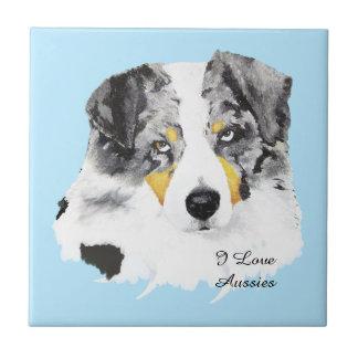 Blue Merle Australian Shepherd Custom Tile