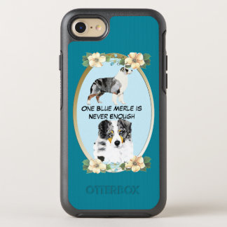 Blue Merle Australian Shepherd, Teal Floral OtterBox Symmetry iPhone 7 Case