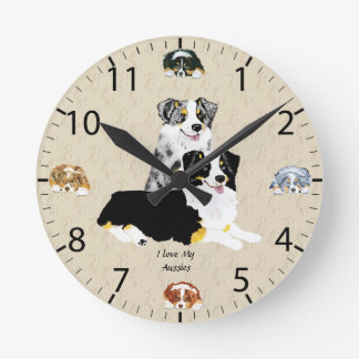 Blue Merle & Black Tri Australian Shepherds Round Clock