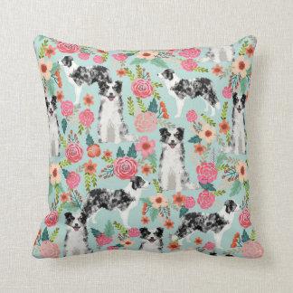 Blue Merle Border Collie Floral Pillow
