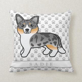 Blue Merle Cardigan Welsh Corgi Dog & Custom Name Throw Pillow