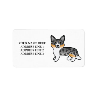 Blue Merle Cardigan Welsh Corgi With Custom Text Label