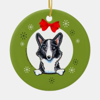 Blue Merle Pembroke Welsh Corgi Christmas Classic Round Ceramic Ornament