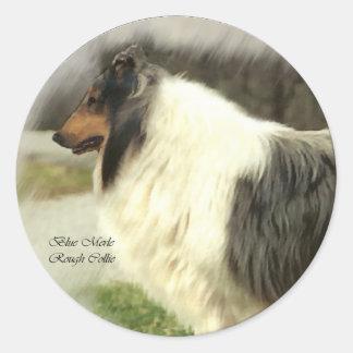Blue Merle Rough Collie Art Gifts Classic Round Sticker