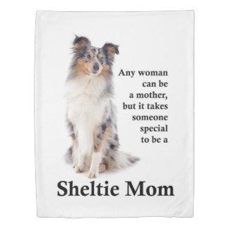 Blue Merle Sheltie Mom Duvet Cover