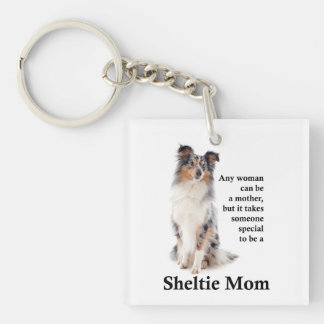 Blue Merle Sheltie Mom Keychain