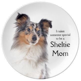 Blue Merle Sheltie Mom Porcelain Plate