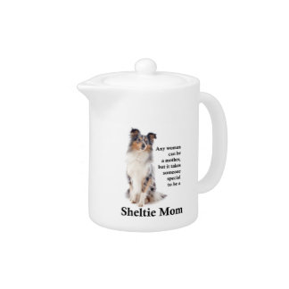 Blue Merle Sheltie Mom Teapot