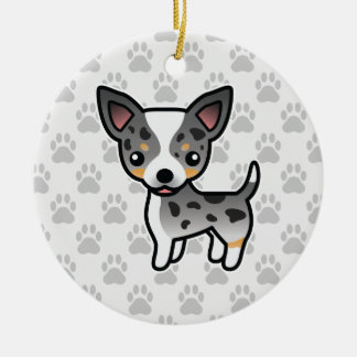 Blue Merle Smooth Coat Chihuahua Cartoon Dog Ceramic Ornament