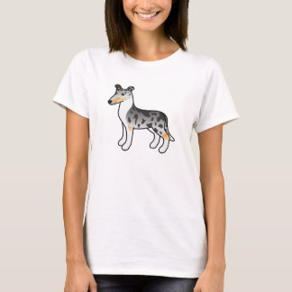 Blue Merle Smooth Collie Cartoon Drawing Design T-Shirt