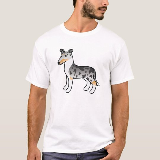 Blue Merle Smooth Collie Design T-Shirt
