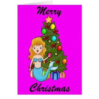 Blue Mermaid and Christmas Tree Card