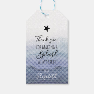 Blue Mermaid Birthday Party Gift Tags