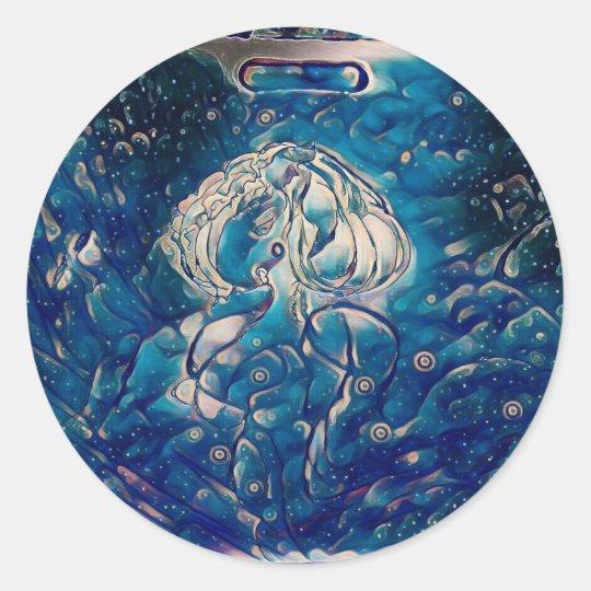 Blue Mermaid Classic Round Sticker