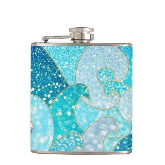 Blue Mermaid Faux Glitter Sea- Teal Gold Ocean Hip Flask