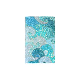 Blue Mermaid Faux Glitter Sea- Teal Gold Ocean Pocket Moleskine Notebook