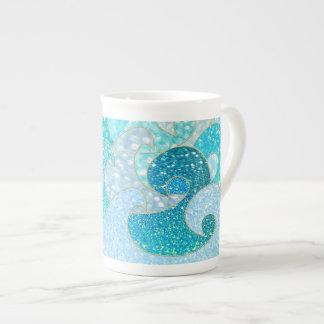 Blue Mermaid Faux Glitter Sea- Teal Gold Ocean Tea Cup