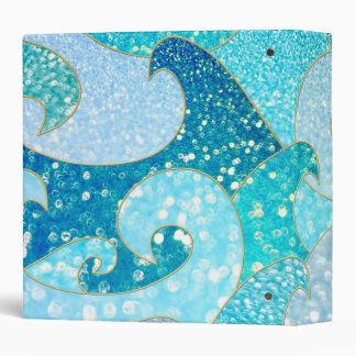 Blue Mermaid Faux Glitter Sea- Teal Gold Ocean Vinyl Binder