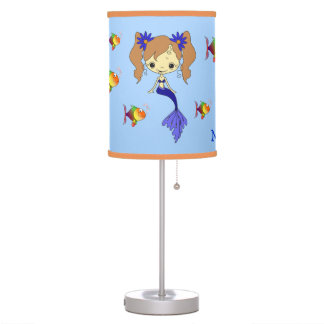 Blue Mermaid Fish Personalized Kids Table Lamps