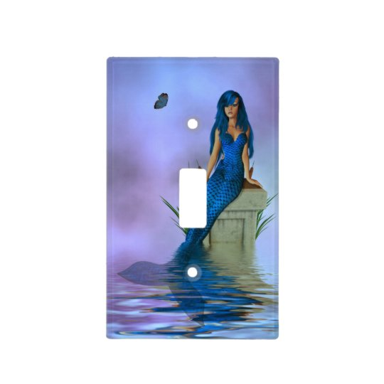 Blue Mermaid Light Switch Cover