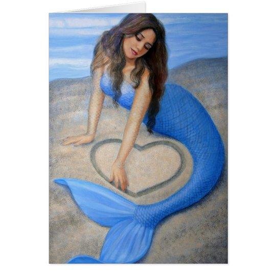 Blue Mermaid 's Heart fantasy art greeting card