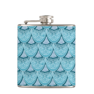 Blue Mermaid scales ,boho,hippie,bohemian Hip Flask