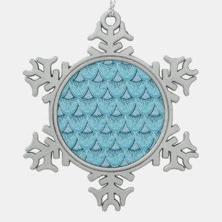 Blue Mermaid scales ,boho,hippie,bohemian Snowflake Pewter Christmas Ornament