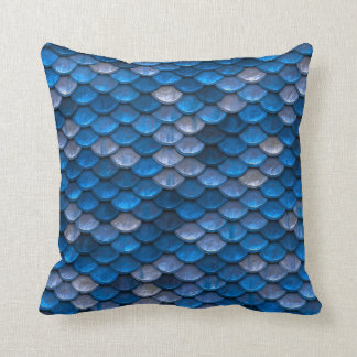 Blue Mermaid Scales Throw Pillow
