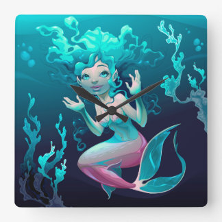 Blue Mermaid Swimming in the Ocean Square Wall Clock