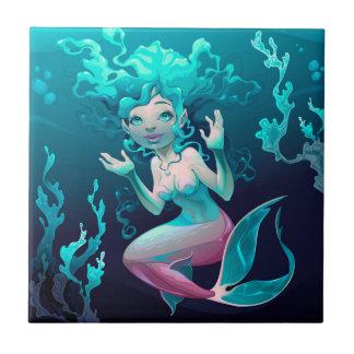 Blue Mermaid Swimming in the Ocean Tile