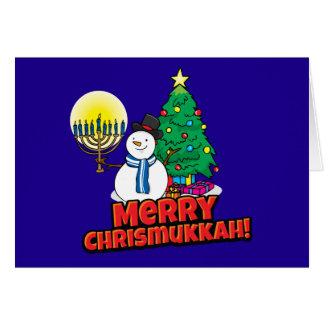 Blue Merry Chrismukkah Jewish and Christmas Greeting Card