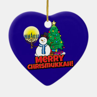 Blue Merry Chrismukkah with Snowman and Menorah Ceramic Heart Ornament