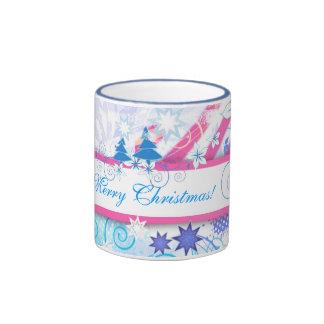 Blue Merry Christmas Coffee Mugs