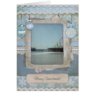 Blue Merry Christmas Santa Monica Pier Card