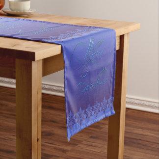 Blue Merry Christmas Short Table Runner