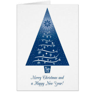 Blue Merry Christmas tree greeting card