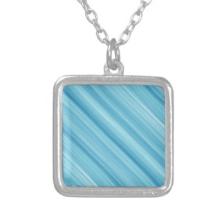 Blue metal background silver plated necklace