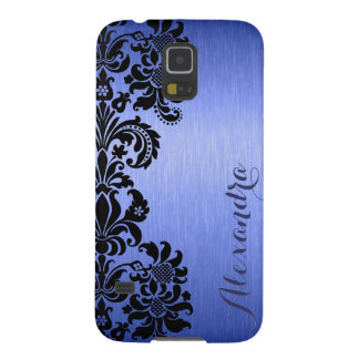 Blue Metallic Brushed Aluminum & Floral Damasks Galaxy S5 Cases