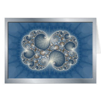 Blue Metallic Fractal notecards Card