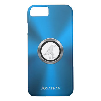 Blue Metallic Soccer Player with Your Monogram iPhone 7 Case