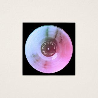Blue metallic vinyl record disc dj production square business card