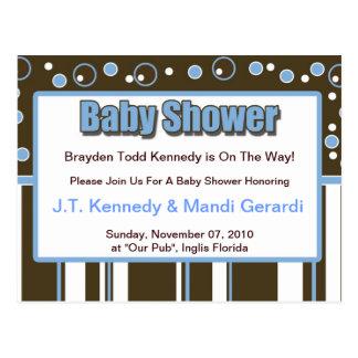 Blue Metro Baby Shower Postcard