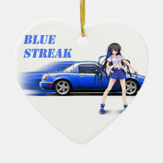 Blue Miata - with anime girl Ceramic Heart Ornament
