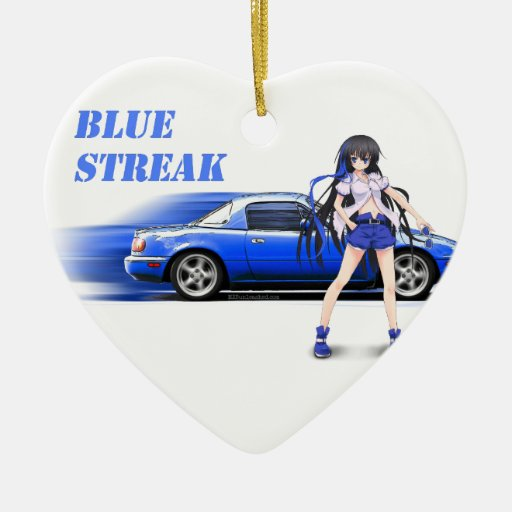 Blue Miata - with anime girl Ornaments