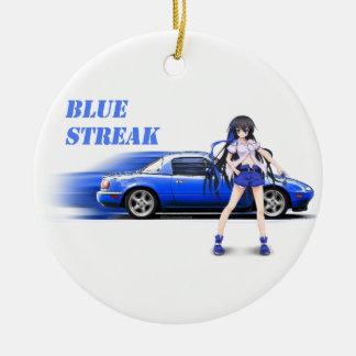 Blue Miata - with anime girl Round Ceramic Ornament