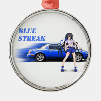 Blue Miata - with anime girl Silver-Colored Round Ornament